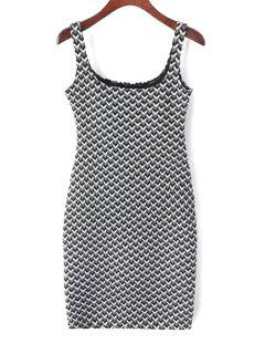 Suspender Jacquard Checked Dress - White And Black M