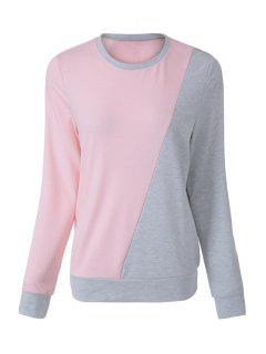 Pink Grey Splicing Long Sleeve Sweatshirt - Pink Xl