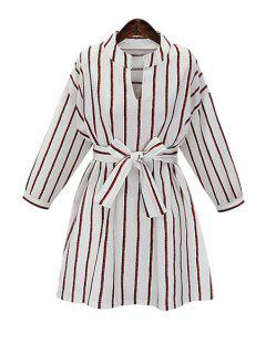 Striped V Neck Long Sleeve Dress - White Xl