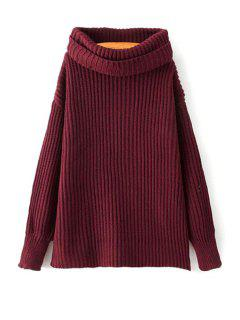 Loose Fitting Turtle Neck Solid Color Pullover Sweater - Wine Red