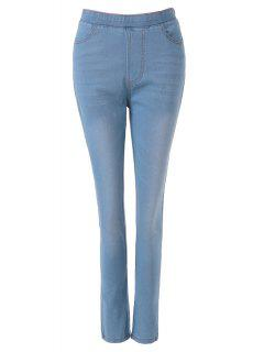 Bleach Wash Elastic Waist Jeans - Light Blue L