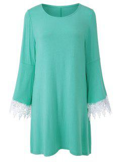 Solid Color Scoop Neck Flare Sleeve Dress - Green Xl