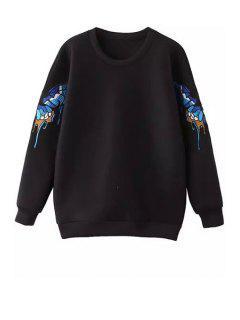 Long Sleeve Butterfly Pattern Sweatshirt - Black L