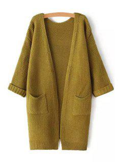 Pure Color 3/4 Sleeve Cardigan - Army Green
