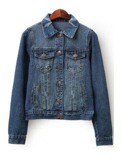 Ripped Denim Turn-Down Collar Long Sleeves Jacket - Deep Blue Xl