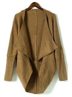 Pure Color Turn Down Collar Long Sleeves Cardigan - Coffee