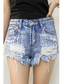 Rivet Straight Leg Denim Shorts - Light Blue 40