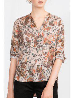 Paisley Print V-Neck Long Sleeves Blouse - S