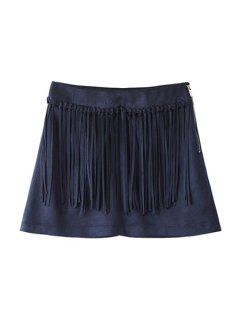 Solid Color Faux Suede Women's Shorts - Deep Blue M