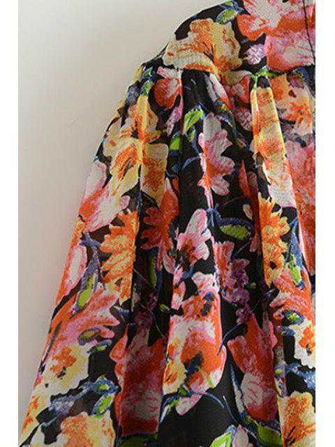 trendy Tiny Floral Print Lace Spliced Blouse - BLACK M Mobile
