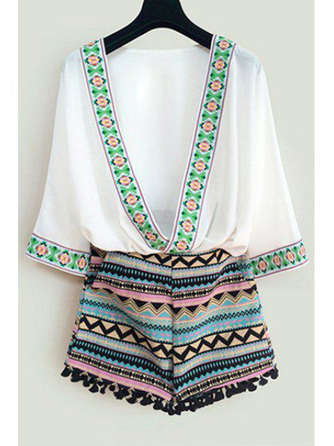 shop Argyle Embroidery 3/4 Sleeve Blouse + Shorts - WHITE M Mobile