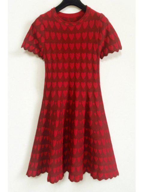 lady Heart Pattern Short Sleeve Dress - RED ONE SIZE(FIT SIZE XS TO M) Mobile