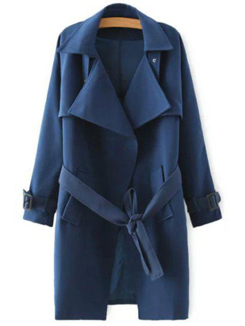latest Solid Color Self-Tie Belt Trench Coat - DEEP BLUE S Mobile