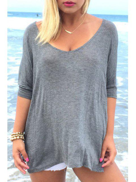 T-shirt à manches longues à manches courtes à manches courtes - Gris XL Mobile