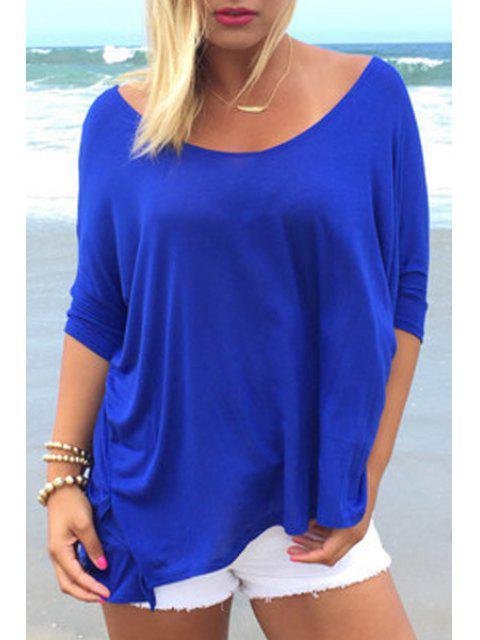 T-shirt à manches longues à manches courtes à manches courtes - Bleu S Mobile