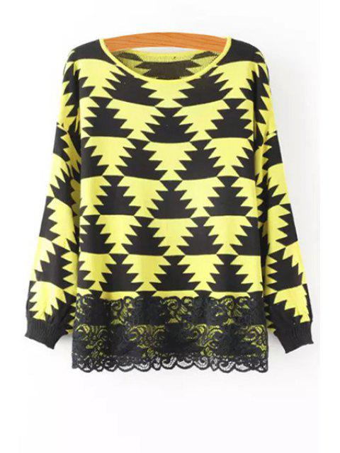 online Geometric Pattern Lace Spliced Sweater -   Mobile