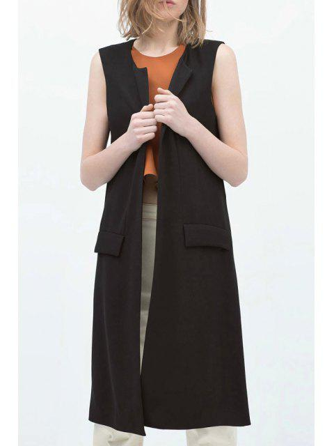 lady Open Front Side Slit Black Waistcoat - BLACK M Mobile