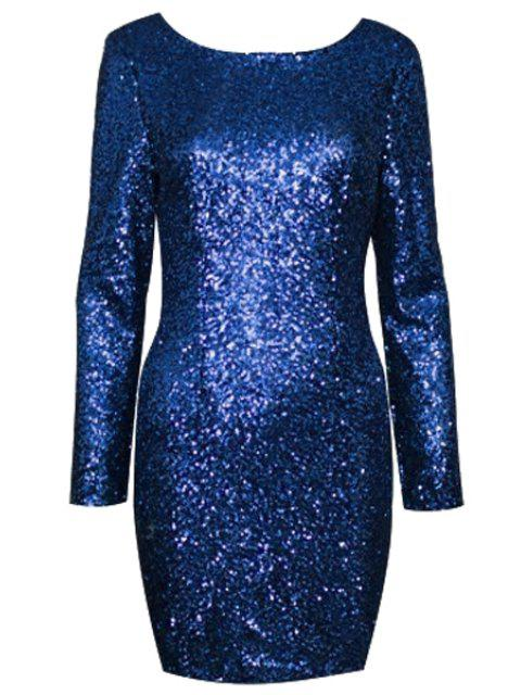 shops Sequins Scoop Collar Long Sleeve Dress - SAPPHIRE BLUE XL Mobile