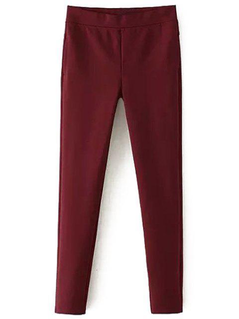 Pantalon rouge à pieds étroits - Rouge L Mobile