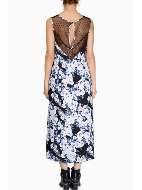 lady Scoop Neck Voile Splicing Floral Print Dress - WHITE AND BLACK 2XL Mobile
