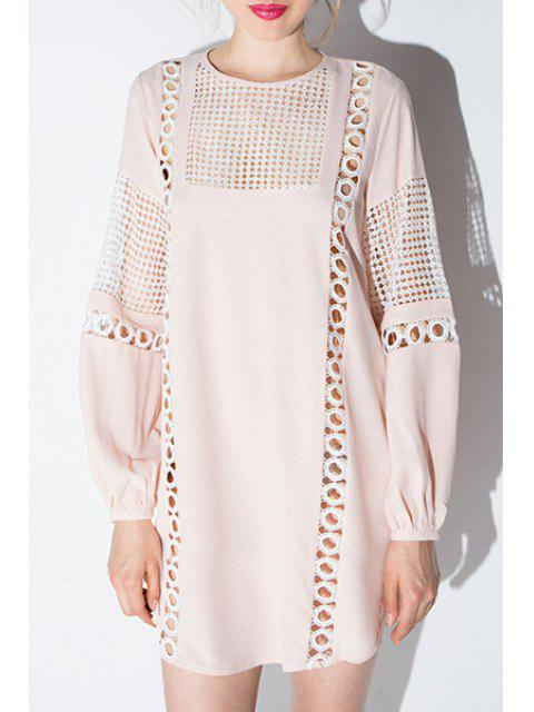 sale Long Lantern Sleeve Openwork Dress - PINK M Mobile