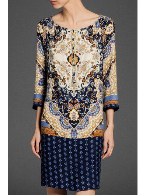 shop Scoop Neck Floral Print 3/4 Sleeve Dress - PURPLISH BLUE M Mobile