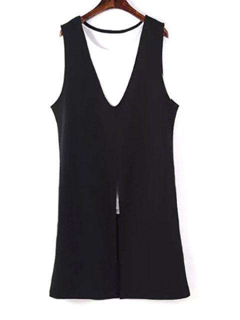 trendy Sleeveless Spliced Front Slit Sweater Dress - BLACK S Mobile