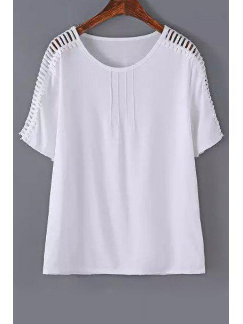 outfit Hollow Out Loose T-Shirt - WHITE L Mobile