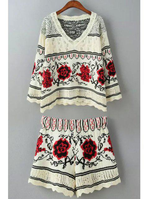 fancy Floral Pattern Long Sleeve Sweater + Shorts - RED ONE SIZE(FIT SIZE XS TO M) Mobile