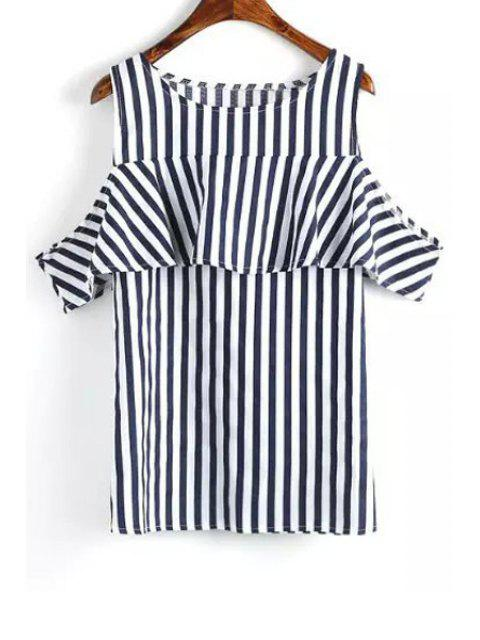 shops Short Sleeve Striped Cut Out T-Shirt - BLUE AND WHITE L Mobile