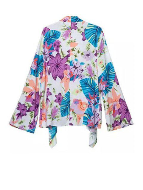 fancy Colorful Floral Printed Long Sleeve Blouse - COLORFUL S Mobile