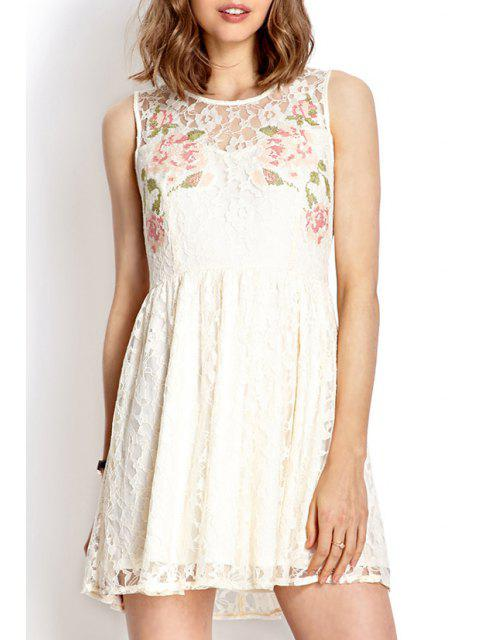 ladies Lace White Round Neck Sundress - WHITE L Mobile