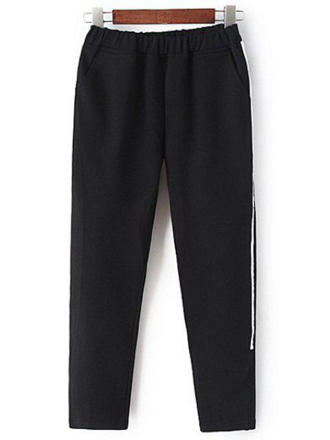 sale White Stripe Edging Elastic Waist Pants - BLACK M Mobile