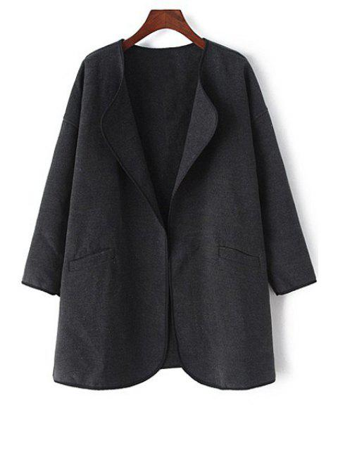 buy Pure Color Long Sleeve Trench Coat - BLACK L Mobile