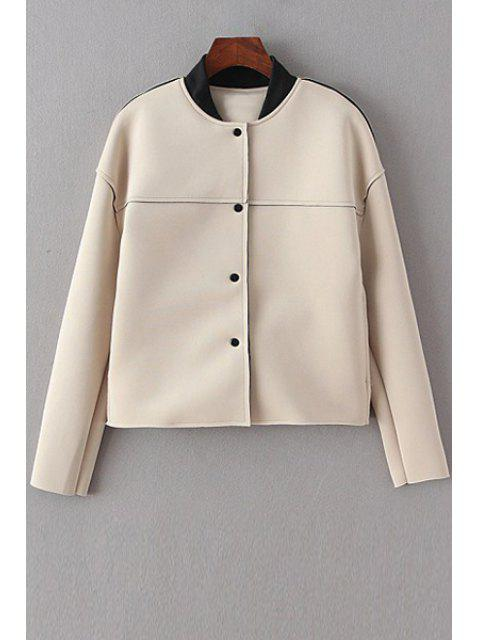 best Stand-Up Collar Single-Breasted Long Sleeve Coat - OFF-WHITE M Mobile
