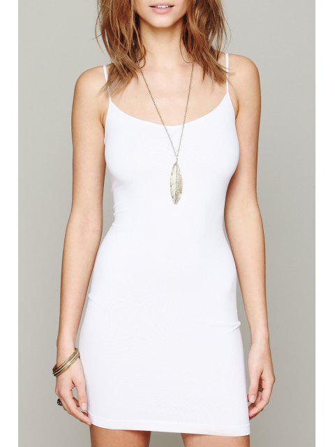 fashion Solid Color Cami Bodycon Dress - WHITE S Mobile