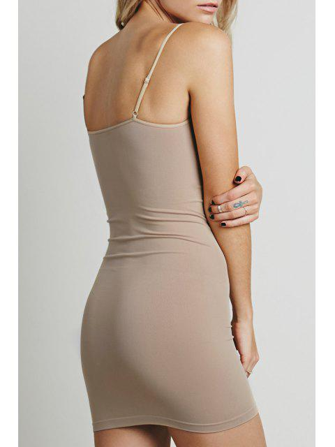 buy Solid Color Cami Bodycon Dress - LIGHT BROWN L Mobile