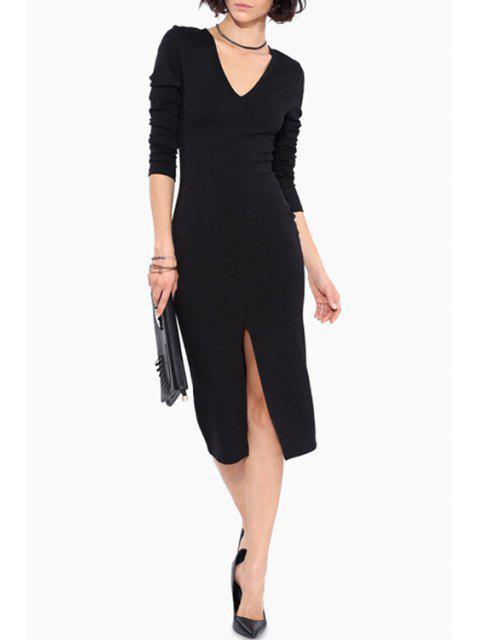 buy Long Sleeve Front Slit Bodycon Dress - BLACK L Mobile
