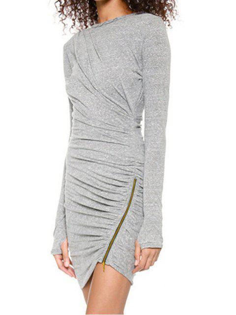 hot Long Sleeve Ruched Gray Bodycon Dress - GRAY L Mobile