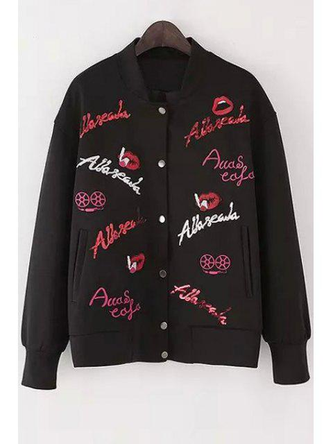 hot Letter Embroidery Stand Neck Long Sleeve Jacket - BLACK S Mobile