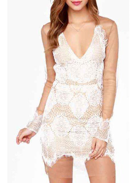affordable Deep V Neck See-Through Lace Splicing Dress - WHITE M Mobile