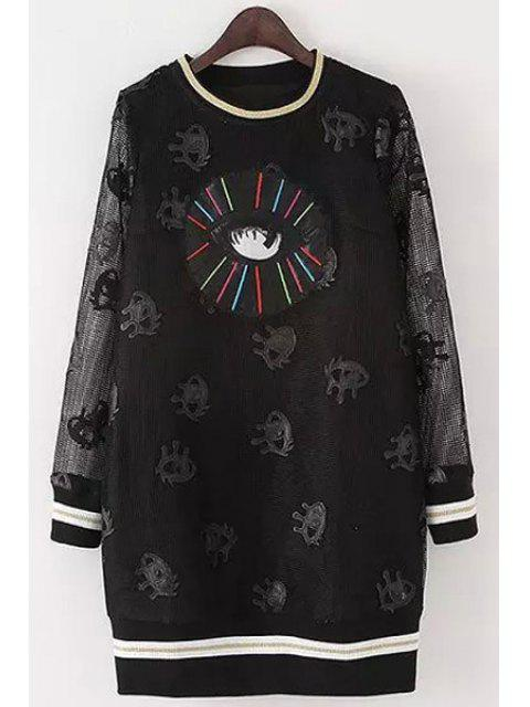 women Full Eye Print Long Sleeve Dress - BLACK M Mobile