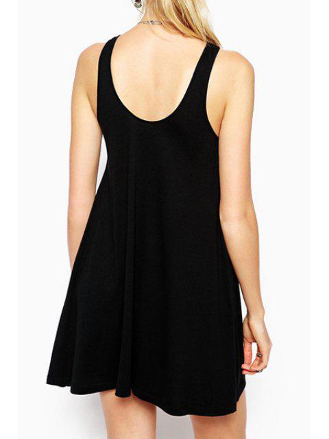 shop Scoop Neck Heart Star Print Sleeveless Dress - BLACK L Mobile