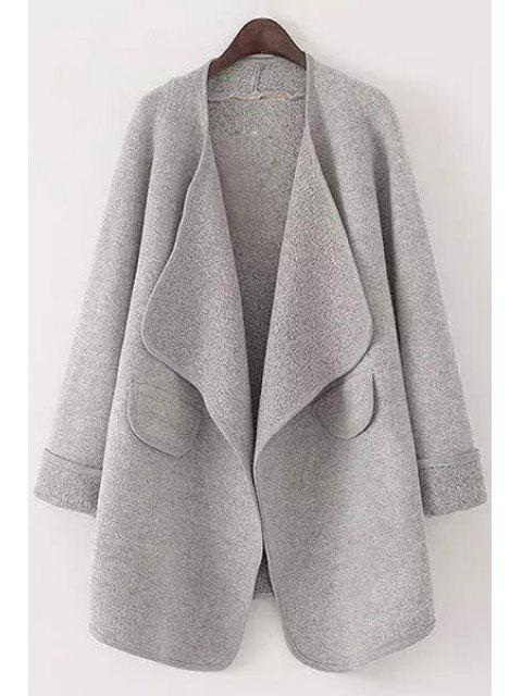 hot Pure Color Turn Down Collar Long Sleeve Cardigan - GRAY L Mobile