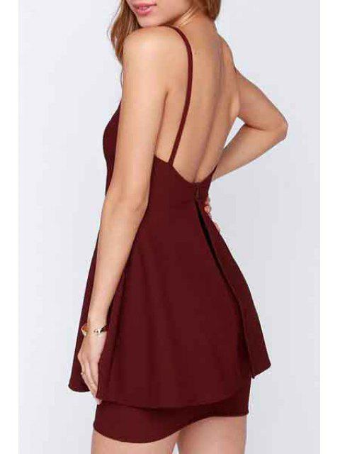 unique Deep V Neck Backless Solid Color Dress - WINE RED 2XL Mobile