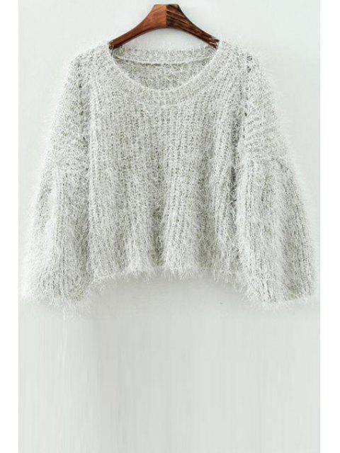 online Mohair Scoop Neck Long Sleeve Jumper - OFF-WHITE ONE SIZE(FIT SIZE XS TO M) Mobile