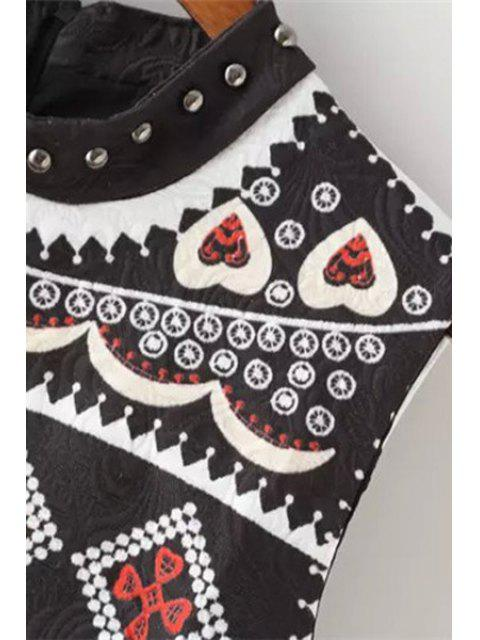 new Ethnic Print Round Neck Sleeveless Dress - WHITE L Mobile