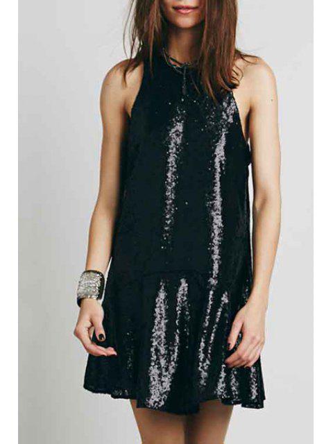 sale Solid Color Sequins Sleeveless Dress - BLACK L Mobile