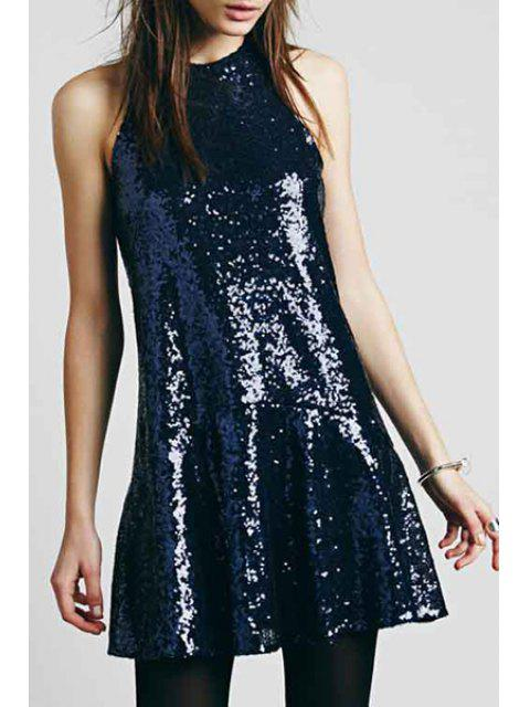 lady Solid Color Sequins Sleeveless Dress - CADETBLUE M Mobile