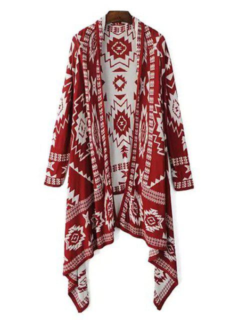 affordable Color Block Geometric Pattern Long Sleeve Cardigan - RED ONE SIZE(FIT SIZE XS TO M) Mobile